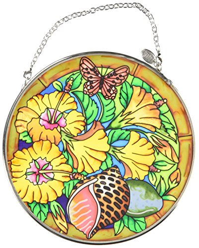 Amia Handpainted Glass Hibiscus and Butterfly Suncatcher, 4-1/2-Inch