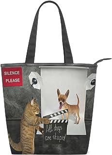 キャンバス バッグ トートバッグ 多機能 多用途2way猫 犬 おもしろい ショルダー バッグ ハンドバッグ レディース 人気 可愛い 帆布 カジュアル 多機能 両用トートバッグ ァスナー付き ポケット付 Natax