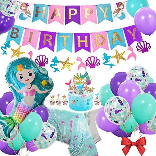 AYUQI Geburtstag Meerjungfrau Party Dekorationen für Mädchen,Happy Birthday Banner Set mit Latex Luftballons Konfetti Folie Ballon Meerjungfrau Tischdecke Party Zubehör für Deko Geburtstag