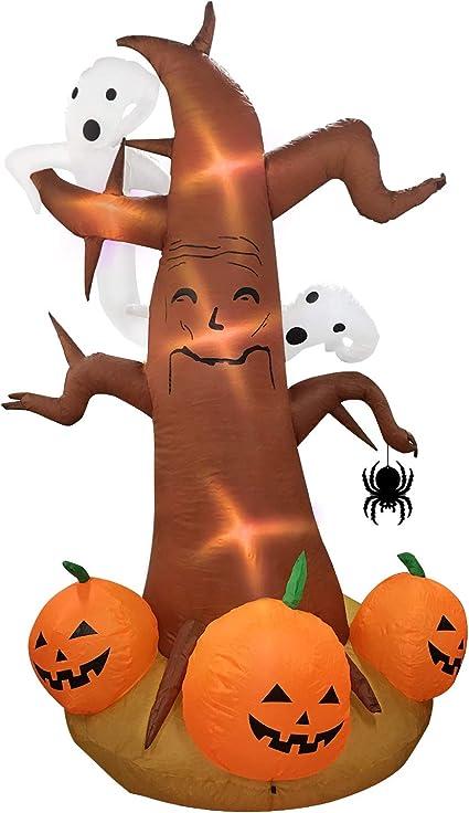 Amazon Com Amazingvaluedeal Decoración Inflable Para Halloween Para árbol Patio Al Aire Libre Grande Decoración De Fiesta De Halloween árbol Soplado Con Calabaza Fantasma Jardín Decoración 8 Pies Jardín Y Exteriores