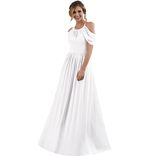 4f04f75f758c Women's Halter Off The Shoulder Chiffon Bridesmaid Dress Long Wedding  Evening Party Gown
