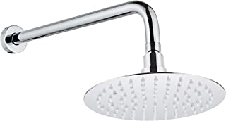Fyeer 16 Inches Fixed Shower Arm Extension with Flange, Extended Rain Shower Head Arm Wall Mounted Modern Stainless Steel, Extender Bracket Tube Polished Chrome