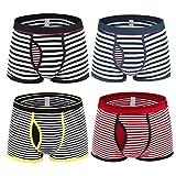 Nuofengkudu Homme Lot Pack De 4 Boxers Elasthane Shorts Rayures Print sous-vêtements Doux Confortable Nouveauté Underwear...