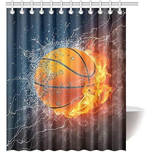 Duschvorhang Basketball wasserdichtem Polyester Bad Vorhang und Haken