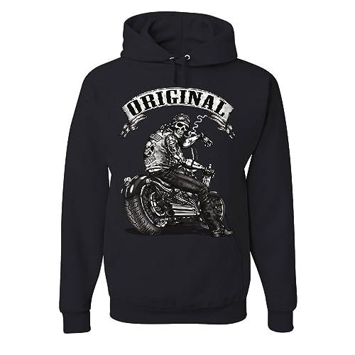 16b4c220 Tee Hunt Original Biker Skull Hoodie Ride or Die Route 66 Motorcycle MC  Sweatshirt