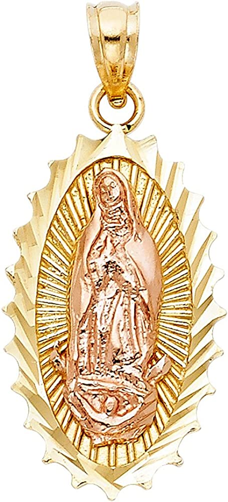 Sonia Jewels 14k Rose And Yellow Two Tone Gold Our Lady Of Guadalupe Virgin Mary Pendant 25mm X 15mm