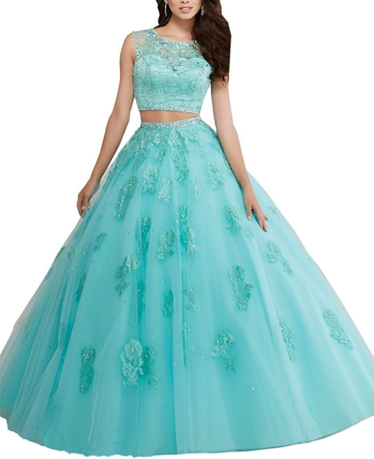 Changjie Women's 2017 Two Piece Prom Ball Gown Lace Applique Quinceanera Dresses
