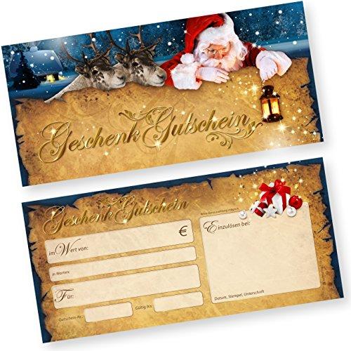 PREMIUM 50 Stk. Geschenk-Gutscheine für Weihnachten Nordpol Express (50 Stück) einfach Werte eintragen und stempeln, für Gewerbe aller Art