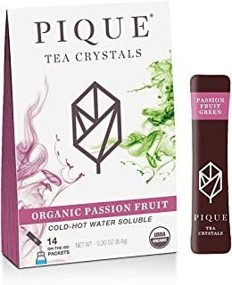 Pique Organic Passion Fruit Green Tea Crystals - Immune Support, Gut Health, Fasting - 14 Single Serve Sticks (Pack of 1)