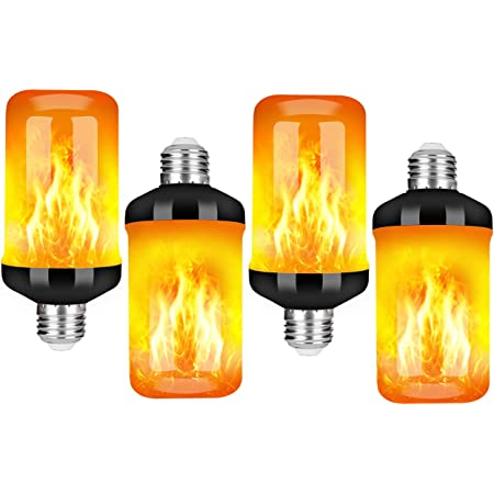 LED Flame Effect Fire Light Bulb, Upgraded 4 Modes Flickering Fire Christmas Lights Decorations, E26 Base Flame Bulb with Upside Down Effect (A Yellow, 4 Pack)