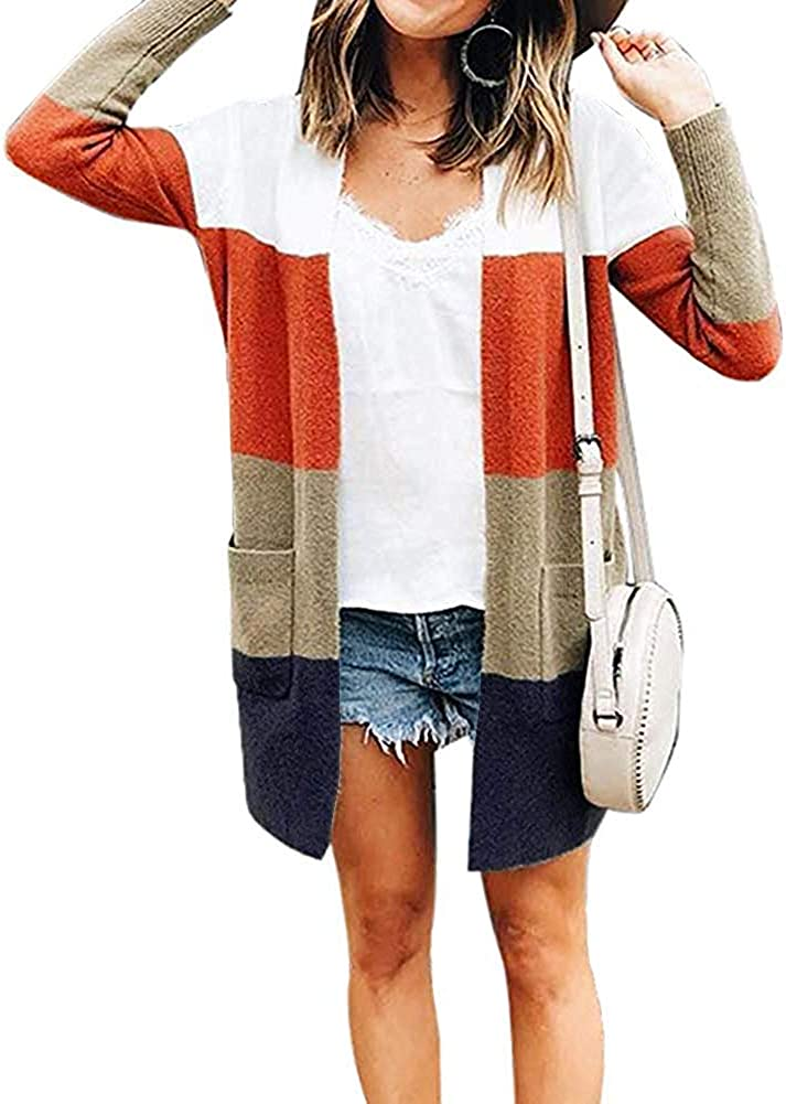 Womens Long Sleeve Casual Striped Cardigan Color Block Knit Open Front Sweater Coat…