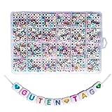 Lnvision 720 Stück A bis Z und Love Herz Bunte Brief Weiss Acryl Würfelperlen Cube Alphabet Buchstaben Spacer Perlen 6x6mm Spacer Zwischenperlen Schmuck DIY Basteln