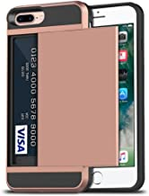 iPhone 7 Plus Case, iPhone 8 Plus Case, Anuck Shockproof iPhone 7/8 Plus Wallet Case [Card Pocket][Slide Cover] Anti-scratch Protective Shell Armor Rubber Bumper Case with Card Slot Holder - Rose Gold