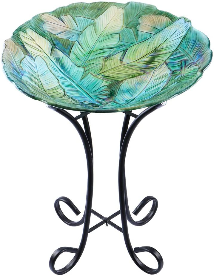 MUMTOP Outdoor Safety and trust Glass Birdbath with Metal Lawn Gar for Gorgeous Yard Stand