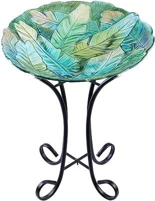 "MUMTOP Outdoor Glass Birdbath with Metal Stand for Lawn Yard Garden Leaf Decor,18"" Dia/21.65 Height"