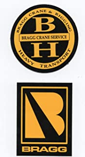 ASIN B07S7SW Bragg Crane & Rigging Service Heavy Transport Sticker Pair: Hardhat/Decals. Great for the Roughneck, Oil Worker, Construction Worker. Looks great on a Helmet, Lunchbox, or Toolbox.