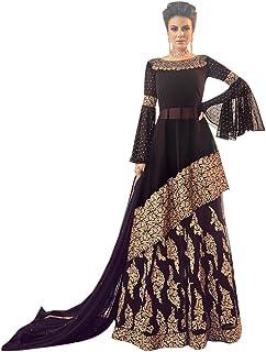 Brown Designer Lace Cut work Short Kurti Sharara Suit Women Indian Wedding Festive dress 8108