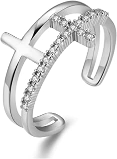 karatcart Platinum Plated and Crystal Adjustable Ring for Women (Silver)