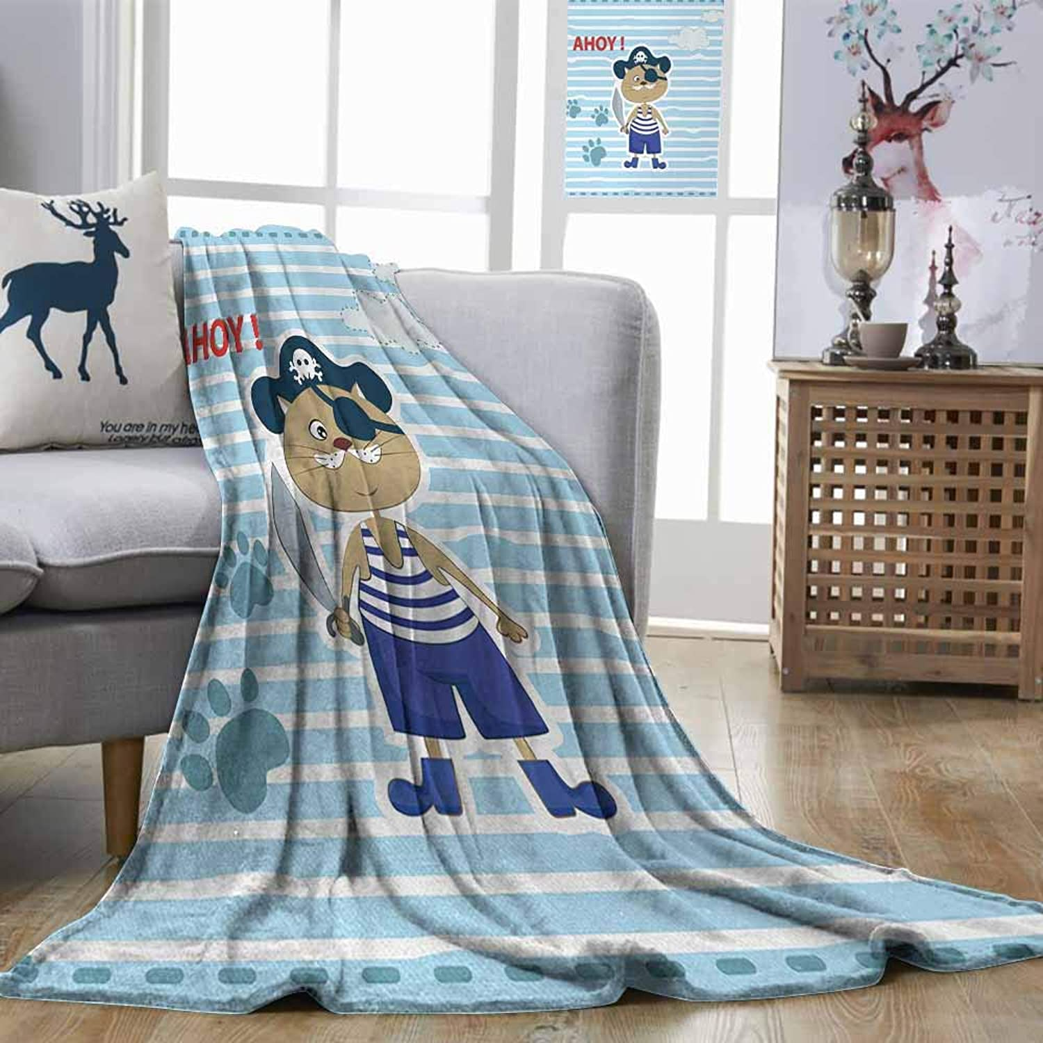 Zmstroy Fashion Throwing Blanket Ahoy Its a Boy Cute Cat Pirate Funny Paws Clouds Maritime Striped Framework Turquoise purple bluee Red Traveling,Hiking,Camping,Full Queen,TV,Cabin W51 xL60