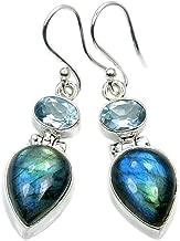 Mystic Princess' Sterling Silver Labradorite, Blue Topaz Dangle Earrings