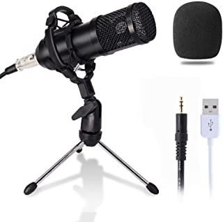 Computer Microphone, Gaming Mic with Stand, USB PC Microphone for Video Recording Studio Streaming External Microphone for...