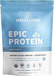 Sponsored Ad - Sprout Living Epic Protein Powder, Original Flavor, Organic Plant Protein, No Additives, Gluten Free, 26 Gr...