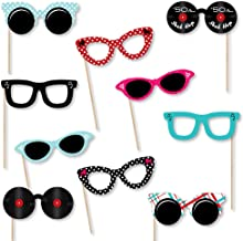 Big Dot of Happiness 50's Sock Hop Glasses - Paper Card Stock 1950s Rock N Roll Party Photo Booth Props Kit - 10 Count