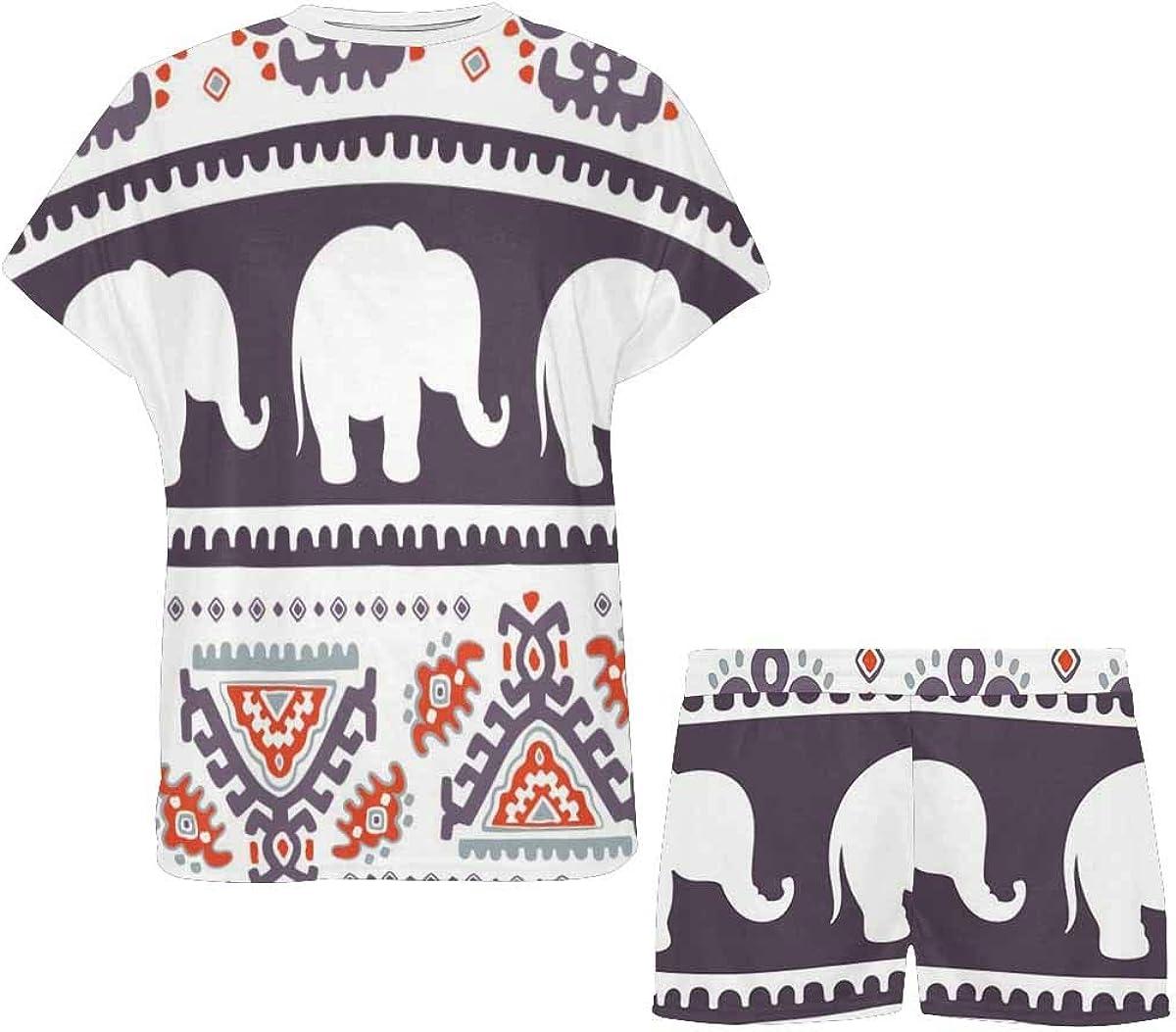 INTERESTPRINT Ethnic Elephant African Tribal Ornament Women's Lightweight Pajama Set, Short Summer Pjs