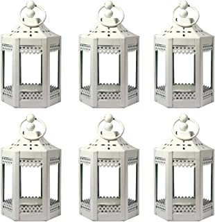Vela Lanterns 6pc 4.5 Inch Metal Tealight Mini Candle Lantern, White