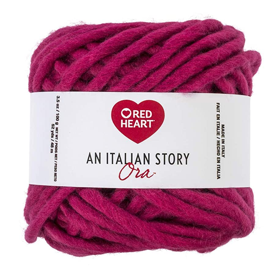 Red Heart R183.5319 Italian Story Ora Wool Blend Yarn, Lampone