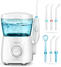 iTeknic Water Flosser Dental Oral Irrigator for Teeth Brace Clean with 10 Adjustable Water Pressure, 600ml Capacity, 7 Jet Tips, 180Sec Electric Professional Flosser for Family,FDA Approved