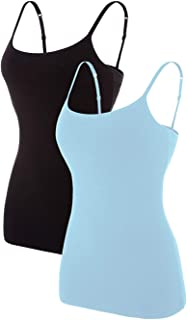 ATTRACO Women Basic Cami Adjustable Spaghetti Strap Built in Bra Tank Top 2 Pack