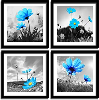 ENGLANT 4 Panels Framed Flower Canvas Wall Art, Black White and Blue Canvas Prints, Abstract Painting Print Artwork, Nature Wall Décor for Home and Office 12x12inchx4 Pieces