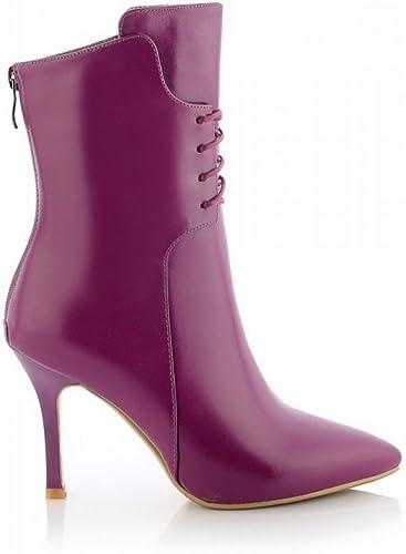 CXY Bottes de Femmes à Talons Hauts dans Le Haut de Gamme Très Bien avec des Chaussures de Femmes Pointues Haut de Gamme,Violet,39