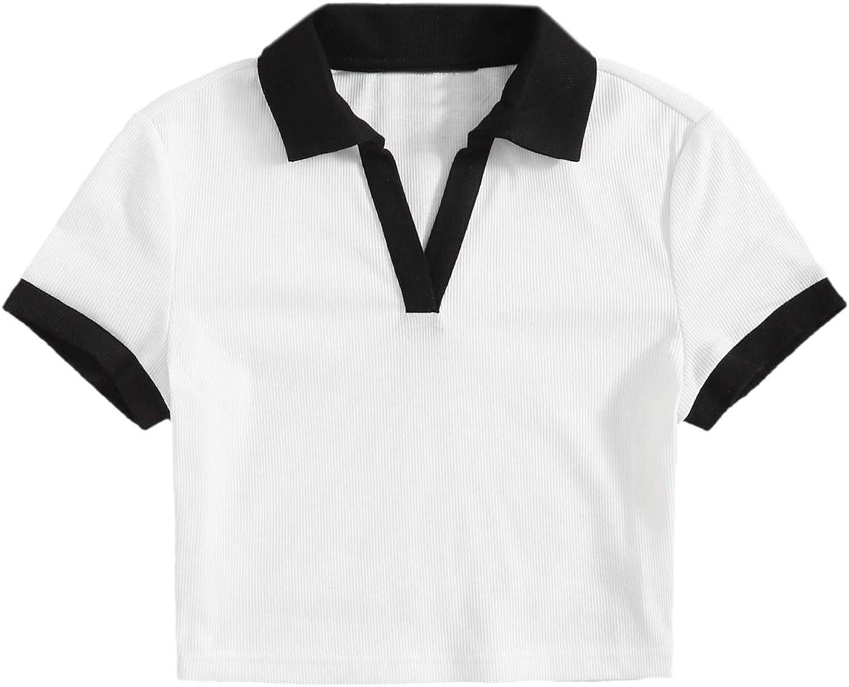 Verdusa Women's Color Block Short Sleeve Collar V Neck Polo Shirt Crop Tee Top