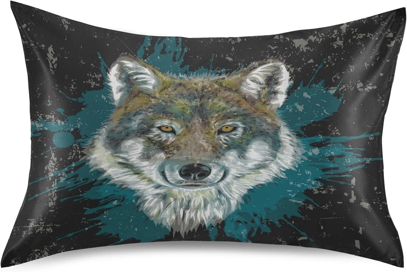 Dalzium gift Wolf Satin Ranking TOP16 Pillowcase King Grunge Silk Print Size