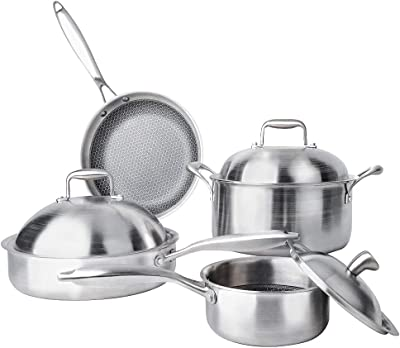 Enougheat 7-pieces Stainless Steel Cookware Set Physical Nonstick Cookware Sets,4-Size Pans Sliver