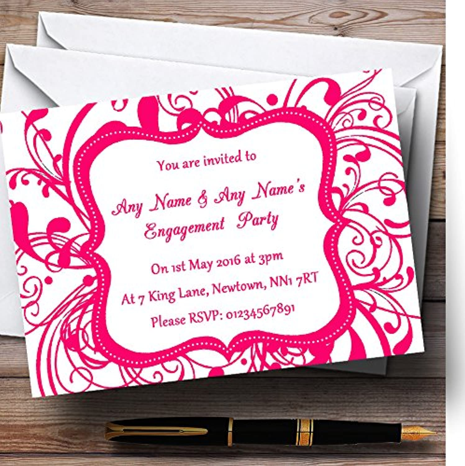White & Pink Swirl Deco Personalised Engagement Party Invitations   Invites & Envelopes
