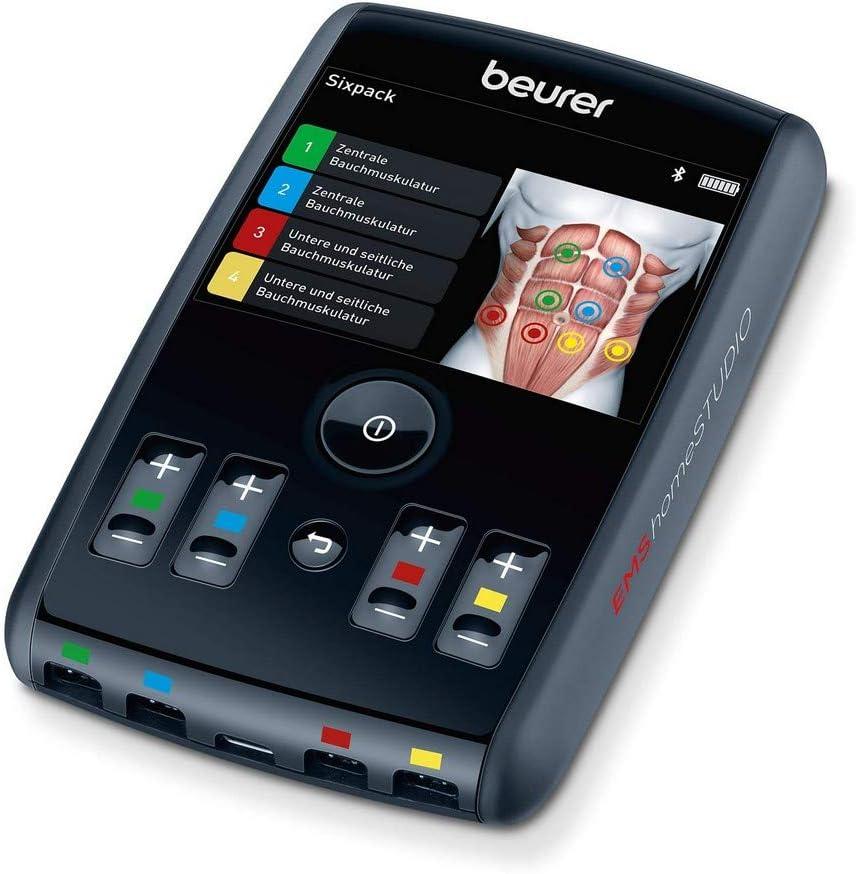 Beurer EM 95. Electroestimulador EMS con 4 canales, batería y APP con entrenador personal.