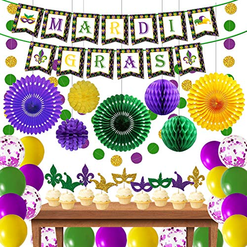 Mardi Gras Decorations,Gold Purple and Green Decorations Party Centerpiece Glitter Circle Garlands Banner Paper Fan Pom Poms,Mardi Gras Banner Garlands for Fat Tuesday/Mardi Gras Theme Celebration