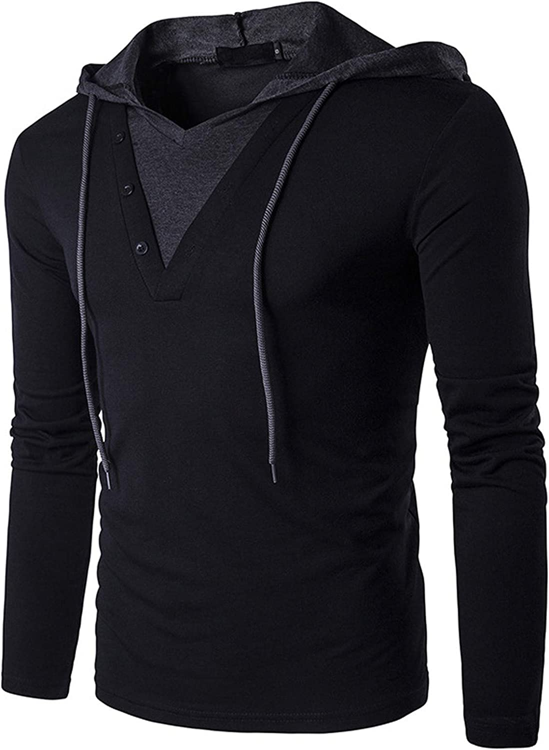ZSBAYU Men's Fashion Trend Colorblock Long Sleeve T-shirt Hooded Tops Shirts with Hood