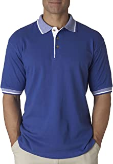 UltraClub mens Color-Body Classic Pique Polo with Contrast Multi-Stripe Trim(8537)-ROYAL/ WHITE-XL