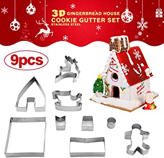 3D Christmas Cookie Cutters Set – 9 Piece, Gingerbread House Kit, Stainless Steel Biscuit Cutter Set with Gift Box for Package Christmas Tree, Snowman, Reindeer, Sled Shapes, Gingerbread Boy Molds