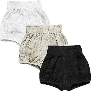 35ac983108b302 JELEUON 3 Pack of Little Baby Girls Boys Cotton Linen Blend Cute Bloomer  Shorts