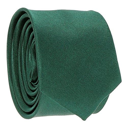 Cravate Fine Vert foncé - Cravate Homme Coupe Slim Moderne - 5cm à la Pointe - Couleur Unie - Accessoire Chemise pour Mariage, Cérémonie