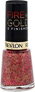 Revlon Womens Fire 'N' Gold 5 Finishes Nail Enamel, Red Sparkle, 8 ml