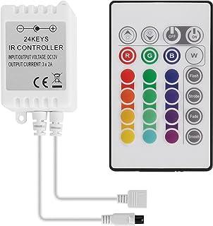 Sylvwin Télécommande LED RGB 24 Touches, télécommande IR pour RGB Ruban LED, SMD 5050 Ruban LED avec Changement de Couleu...