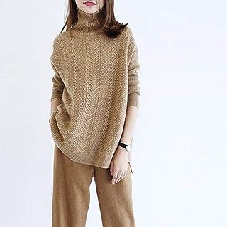 Jerséis para Mujer,Moda Mujer Suéter Grueso Casual Cuello Alto Manga Larga Jersey De Punto Señoras Elástico Ligero Suelto ...