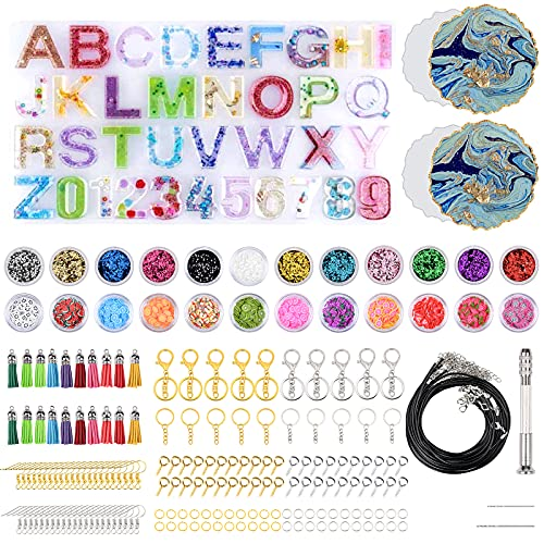 Resin Casting Mold Kit Silicone Mold 330 Pcs DIY Jewelry Craft Moulds Silicone Epoxy Resin Mold Letter and Numbers,Including Glitter Powder, Keychain and Dril Tools Set for Art Craft Lovers