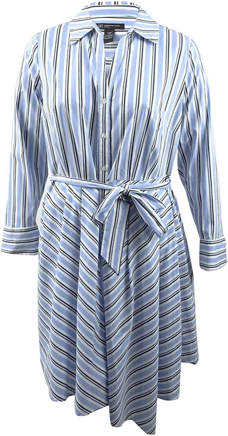 Inc Womens Plus Bell Sleeves Striped Shirtdress